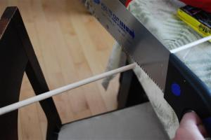 Sawing the Dowel to length