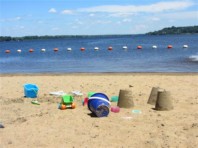 Beach day at Petrie Island - gorgeous weather, clear water, and next to no one else there.