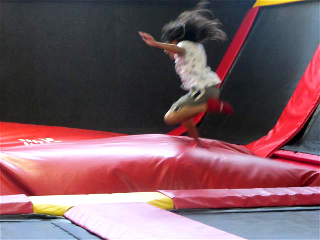 Jumping at xTreme Indoor Trampoline Park.