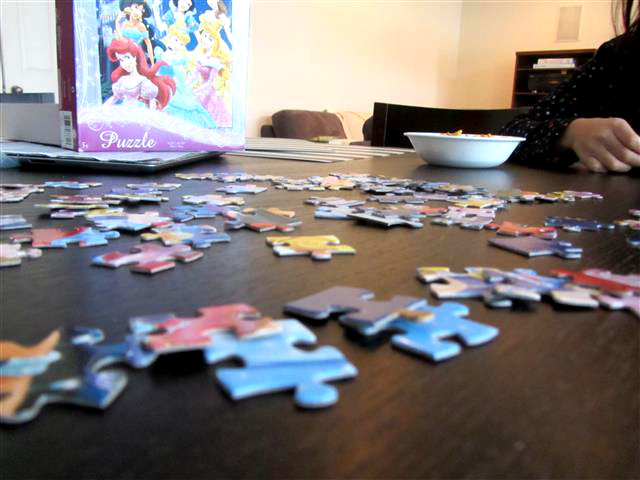 I love puzzles, and so does my youngest, so we did a few before dinner.