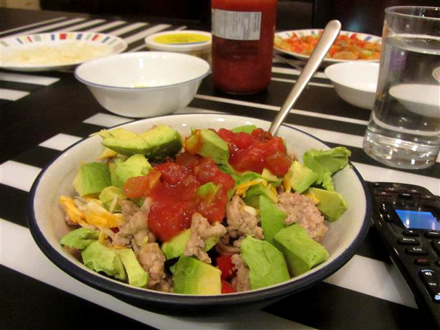 Taco salad for dinner. We have a tradition that the birthday person can have whatever they want for dinner and what I wanted was a) something that was super easy to make and b) did not use a lot of dishes. ACCOMPLISHED.