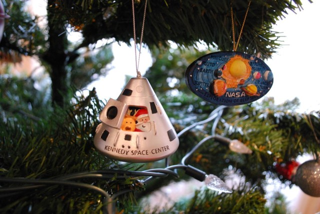 Here is the ornament I bought at Kennedy Space Centre this past spring,  matched perfectly with a NASA one my sister gave us years ago: - Tree Tour €� TurtleHead